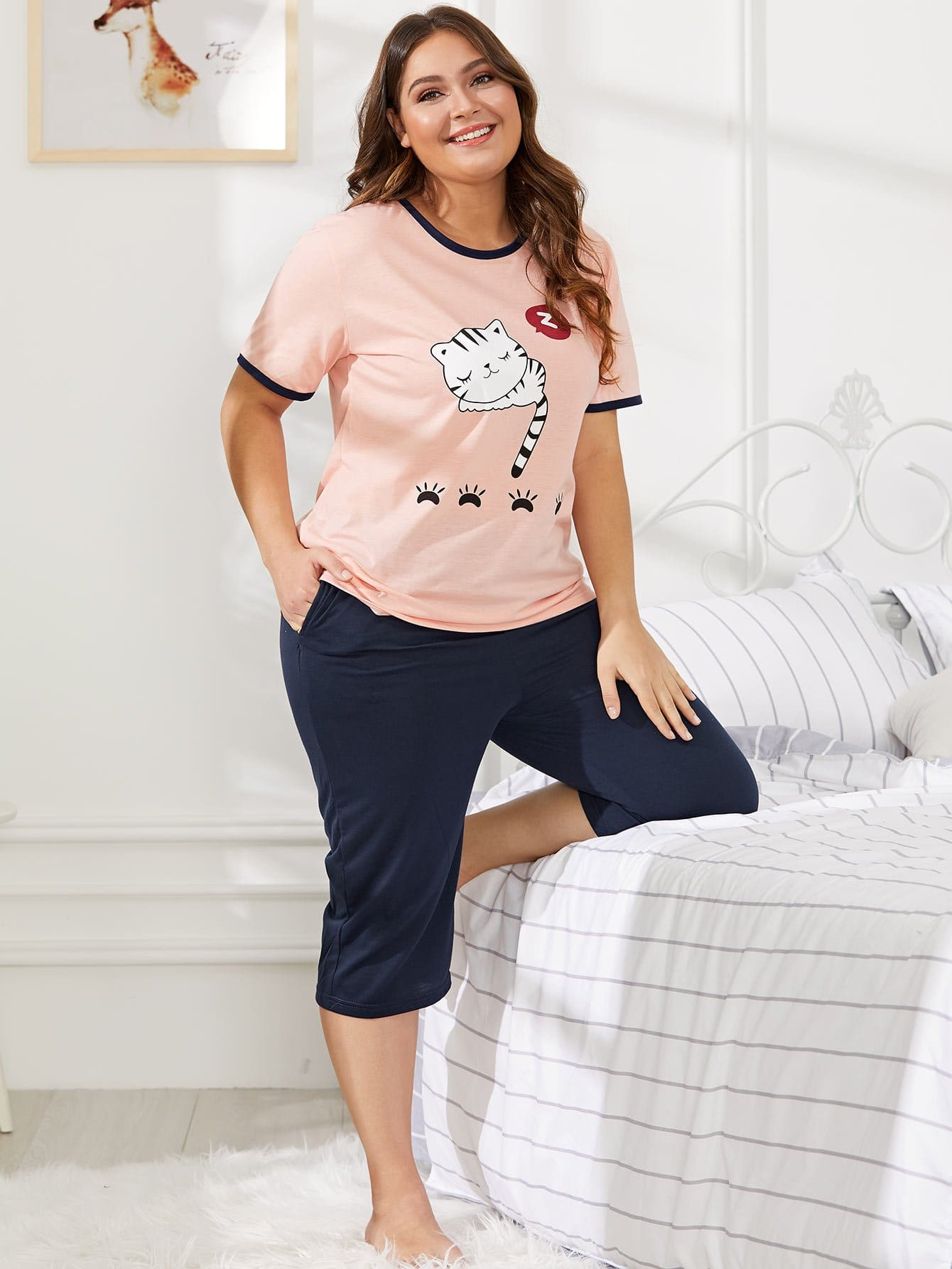 Cat Print Contrast Binding Pajama Set цена и фото