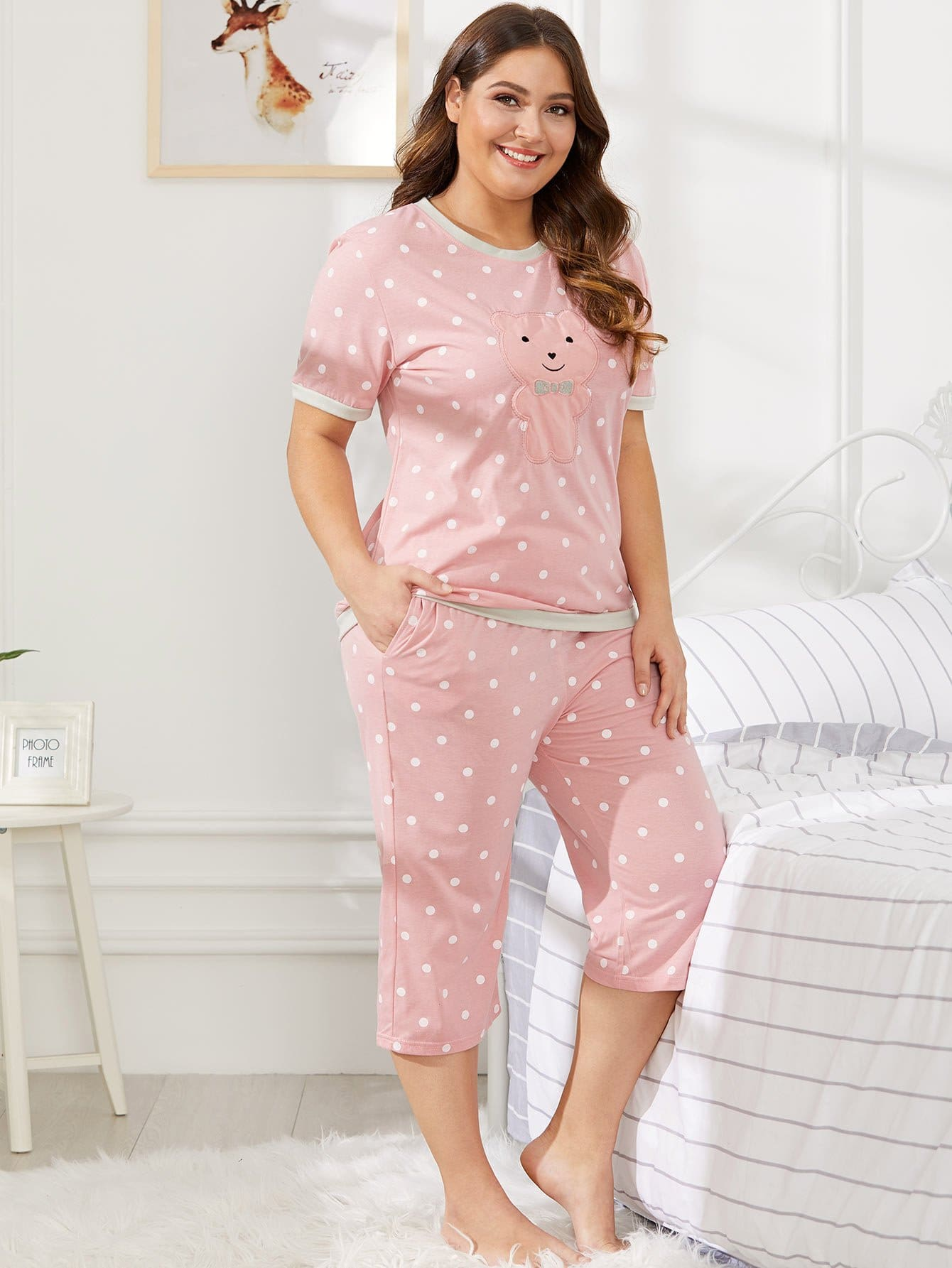 Bear Pattern Polka Dot Pajama Set цена и фото