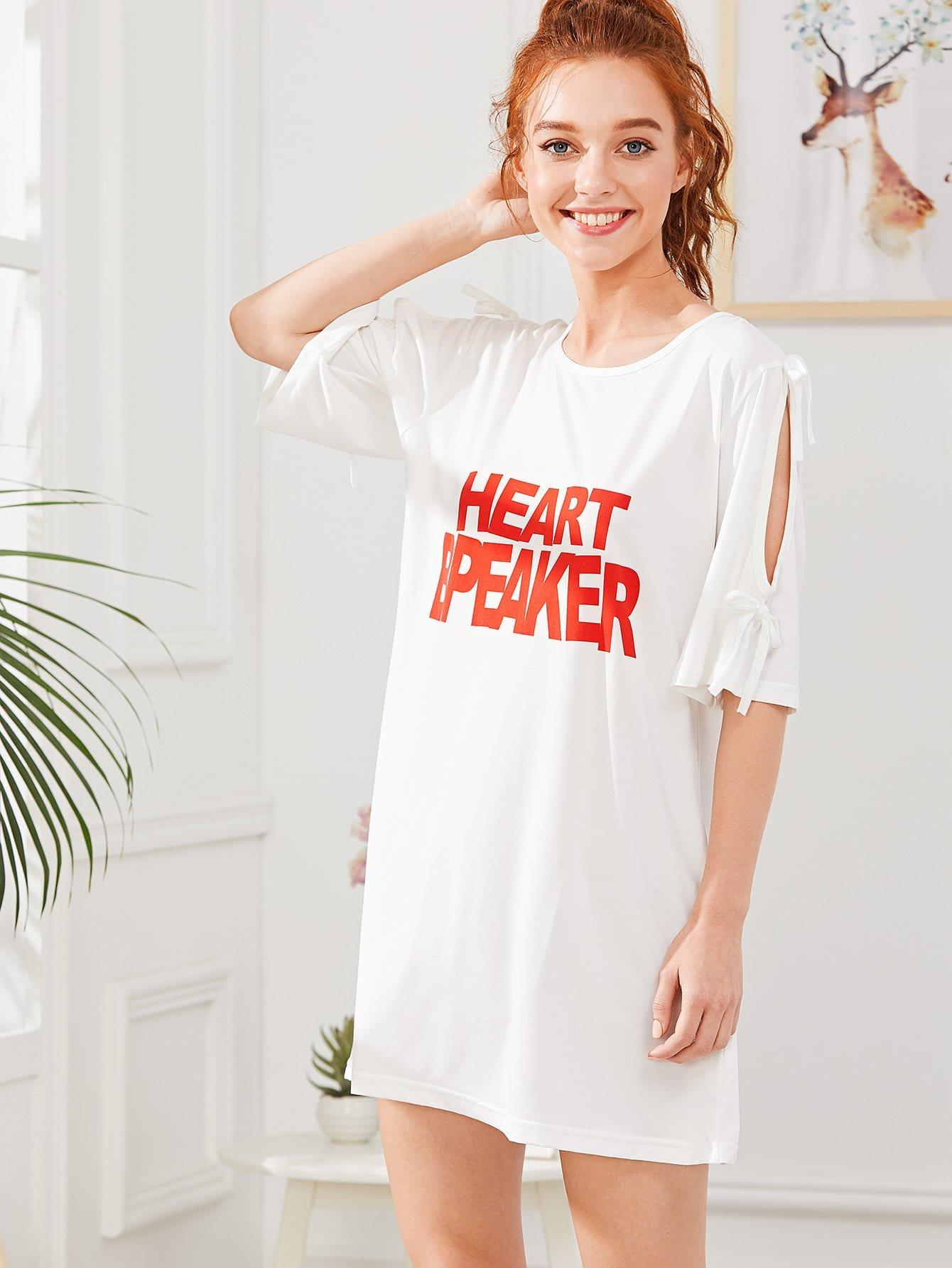 Letter Print Split Sleeve Night Dress letter print split sleeve dress