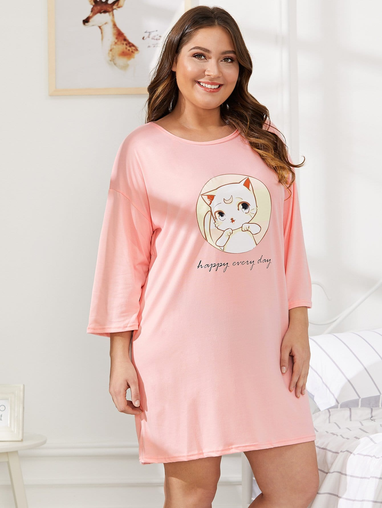 Plus Cat & Letter Print Night Dress