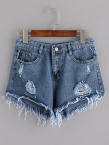 5 Pocket Distressed Denim Shorts SHEIN