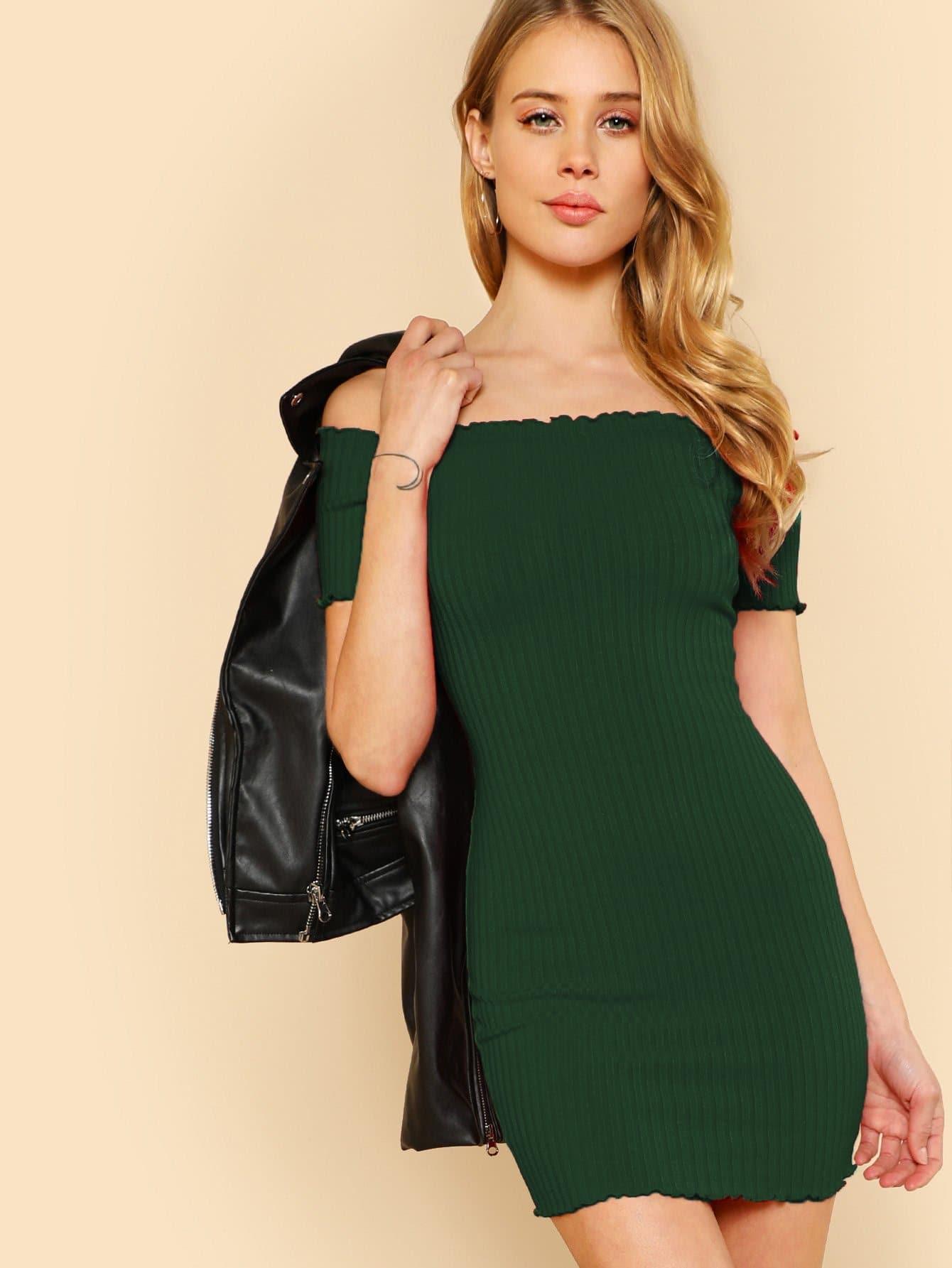 все цены на Lettuce Edge Detail Ribbed Bardot Dress