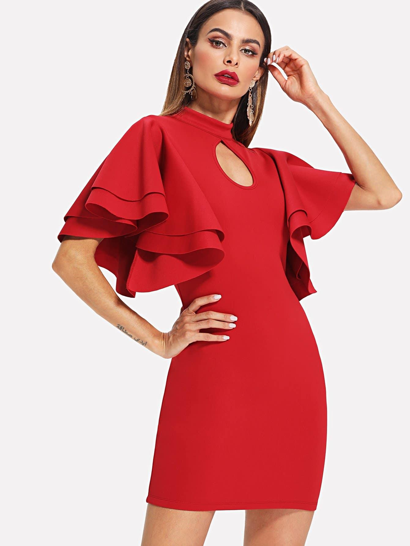 Cut Out Neck Layered Exaggerate Ruffle Sleeve Dress burgundy contrast sheer neck layered sleeve ruffle dress