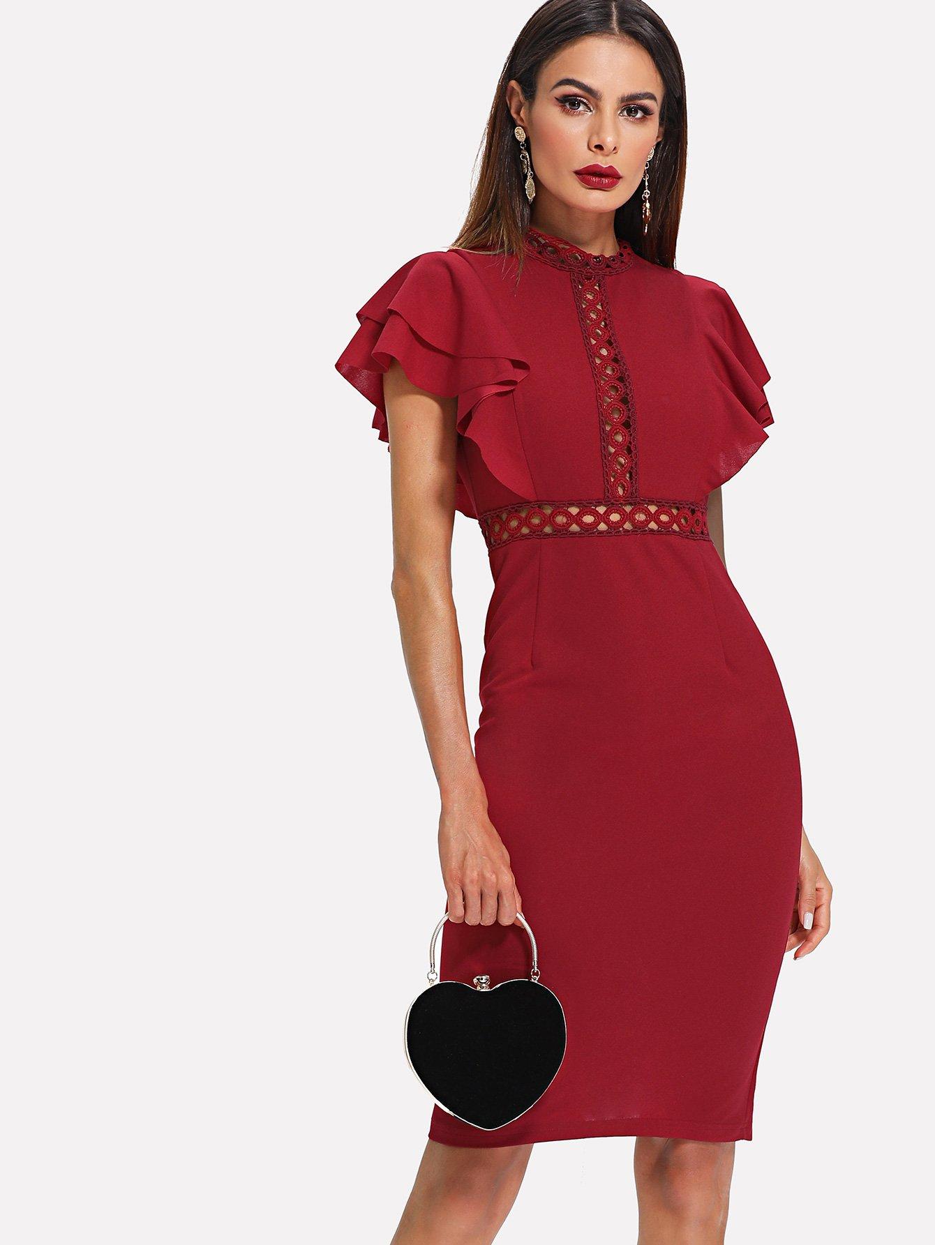 Eyelet Lace Insert Exaggerate Flounce Sleeve dress flounce sleeve eyelet embroidery dress