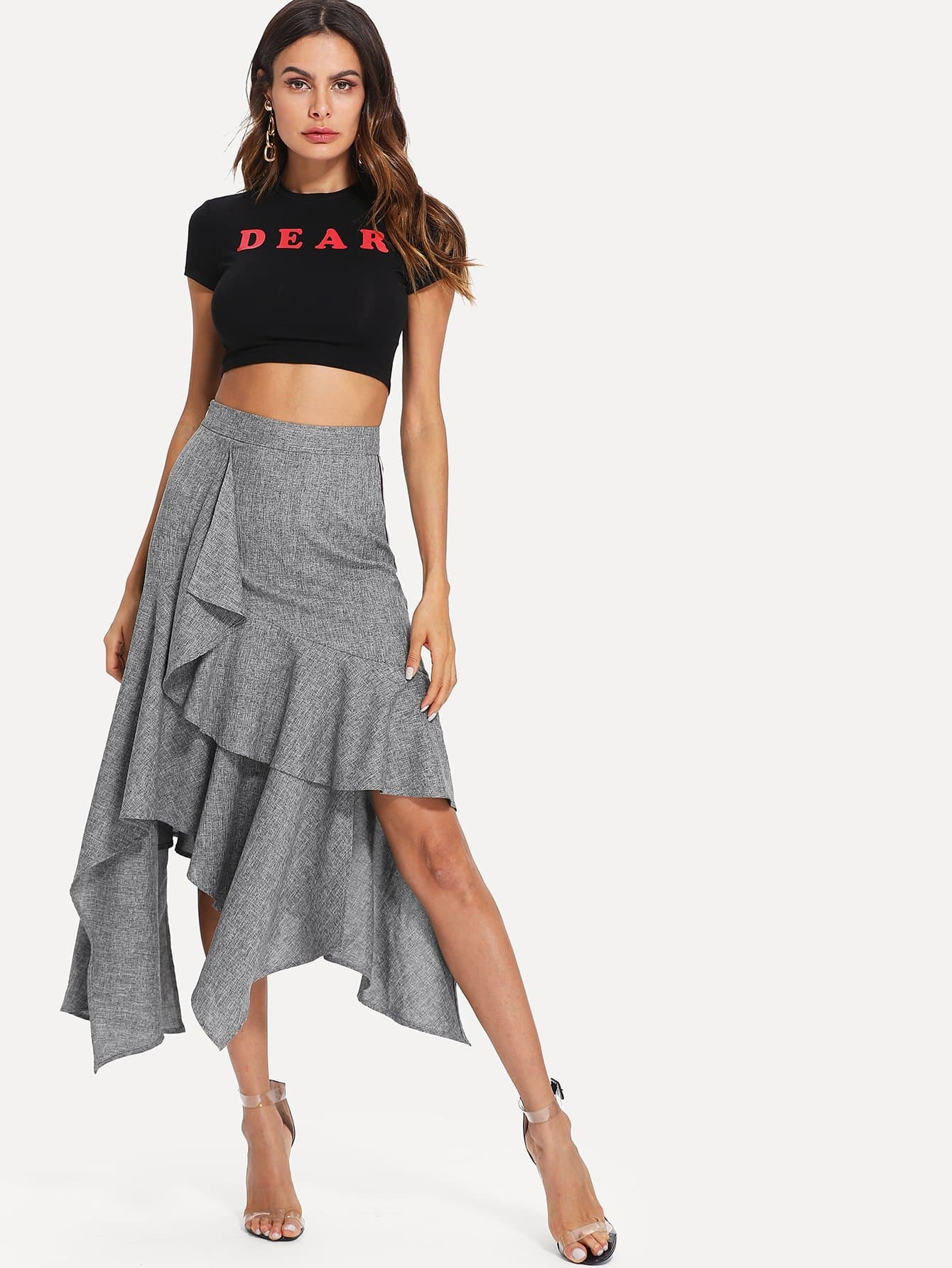 Contrast Striped Detail Asymmetrical Ruffle Hem Skirt striped ruffle hem overlap skirt