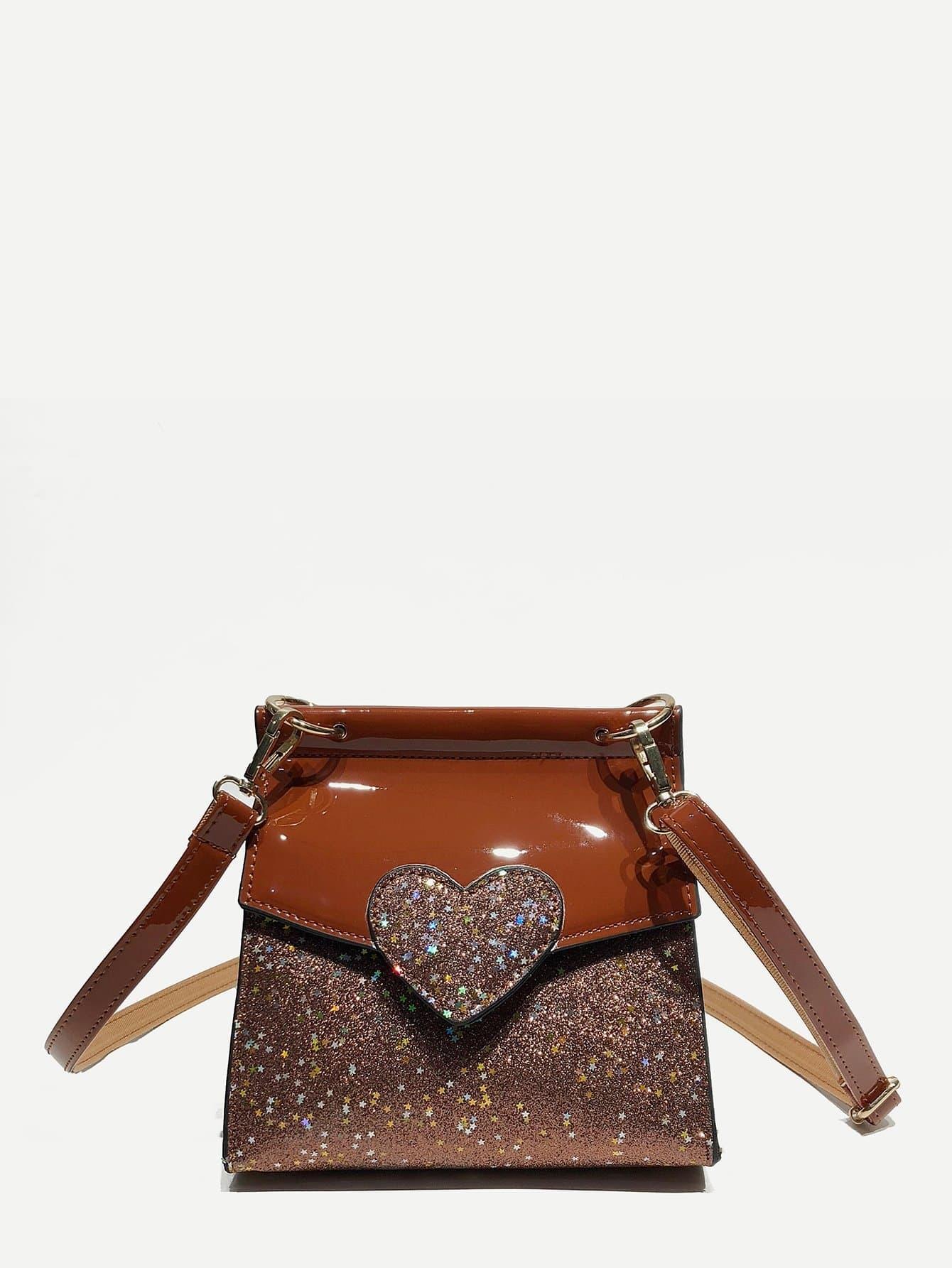 Heart Decor Glitter Shoulder Bag heart decor zipper front backpacks bag