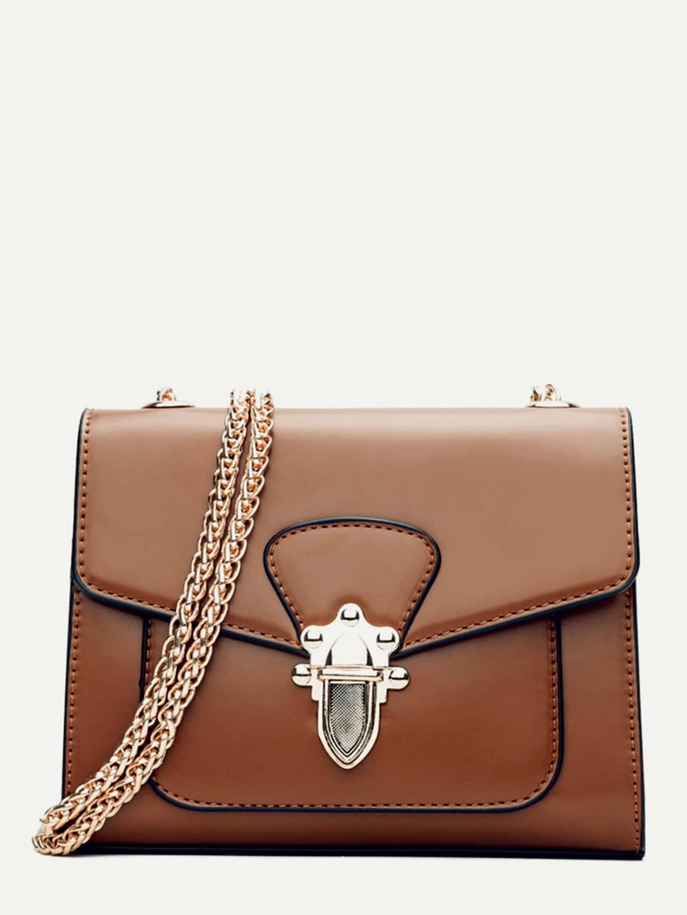 Contrast Piping Push Lock Chain Bag цена 2017