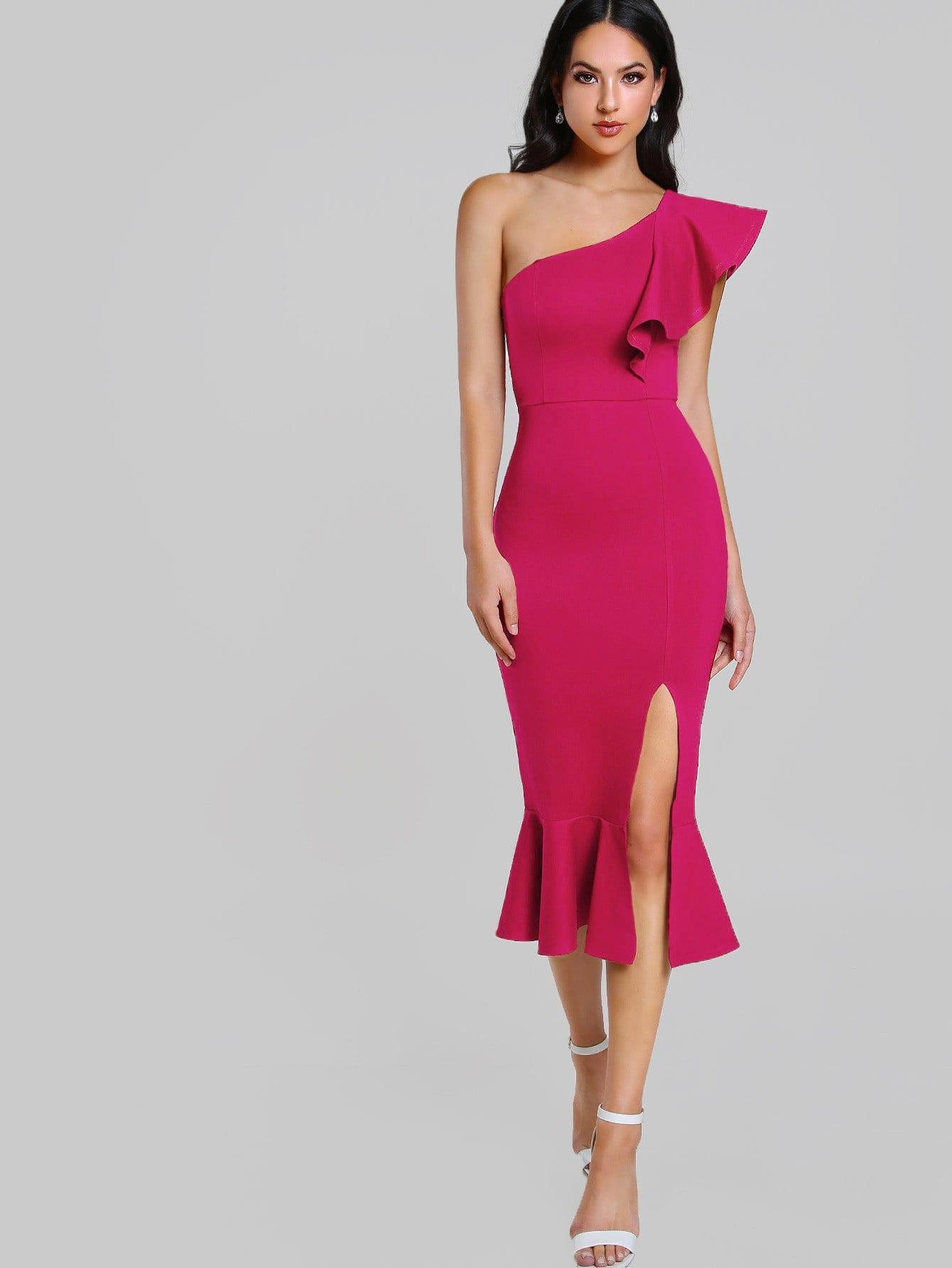 Flounce One Shoulder Slit Fishtail Dress one shoulder slit back fitted dress