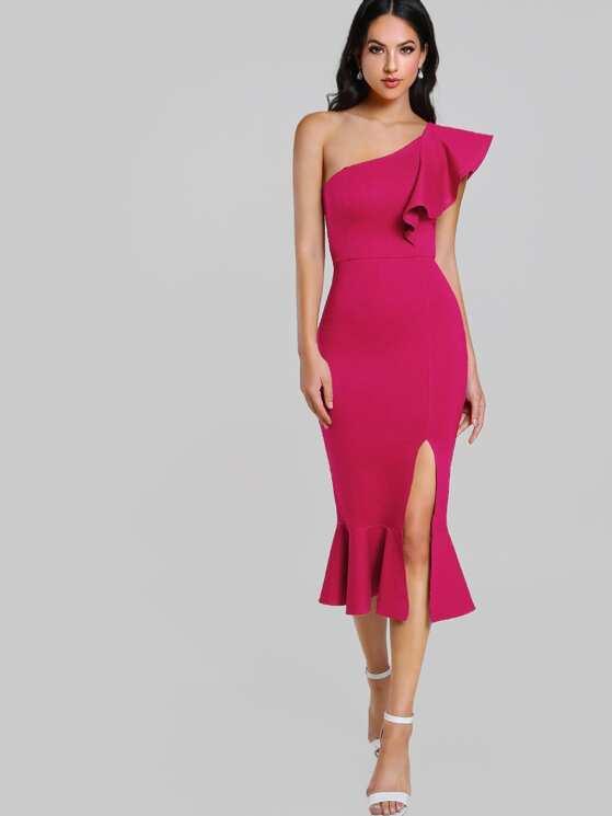 59a903f465a7 Flounce One Shoulder Slit Fishtail Dress