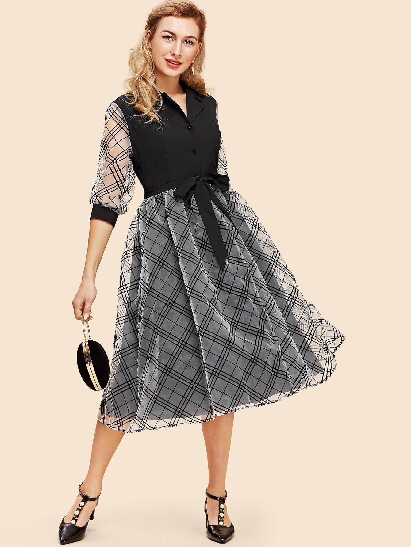 Plaid Mesh Insert Button Up Flare Dress zip up side plaid dress