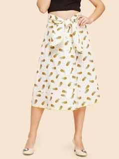 Allover Pineapple Print Knot Skirt