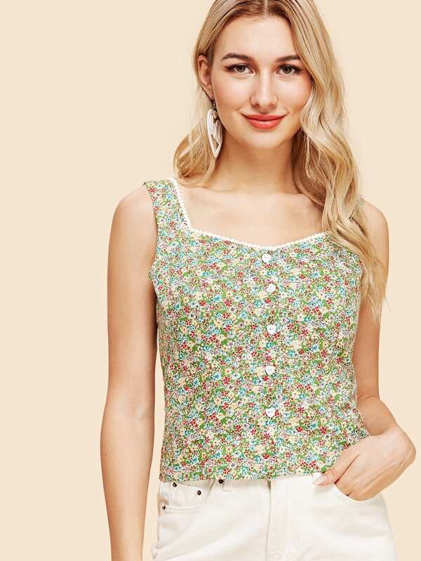 Crochet Pompom Trim Calico Print Shell Top by Shein