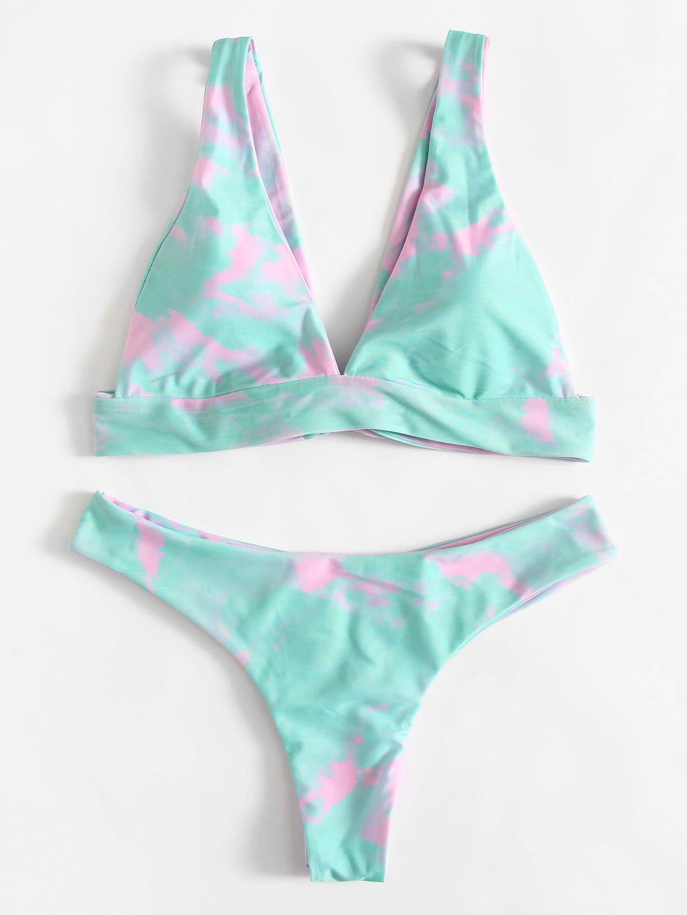 Watercolor Knot Bikini Set watercolor strappy bikini set