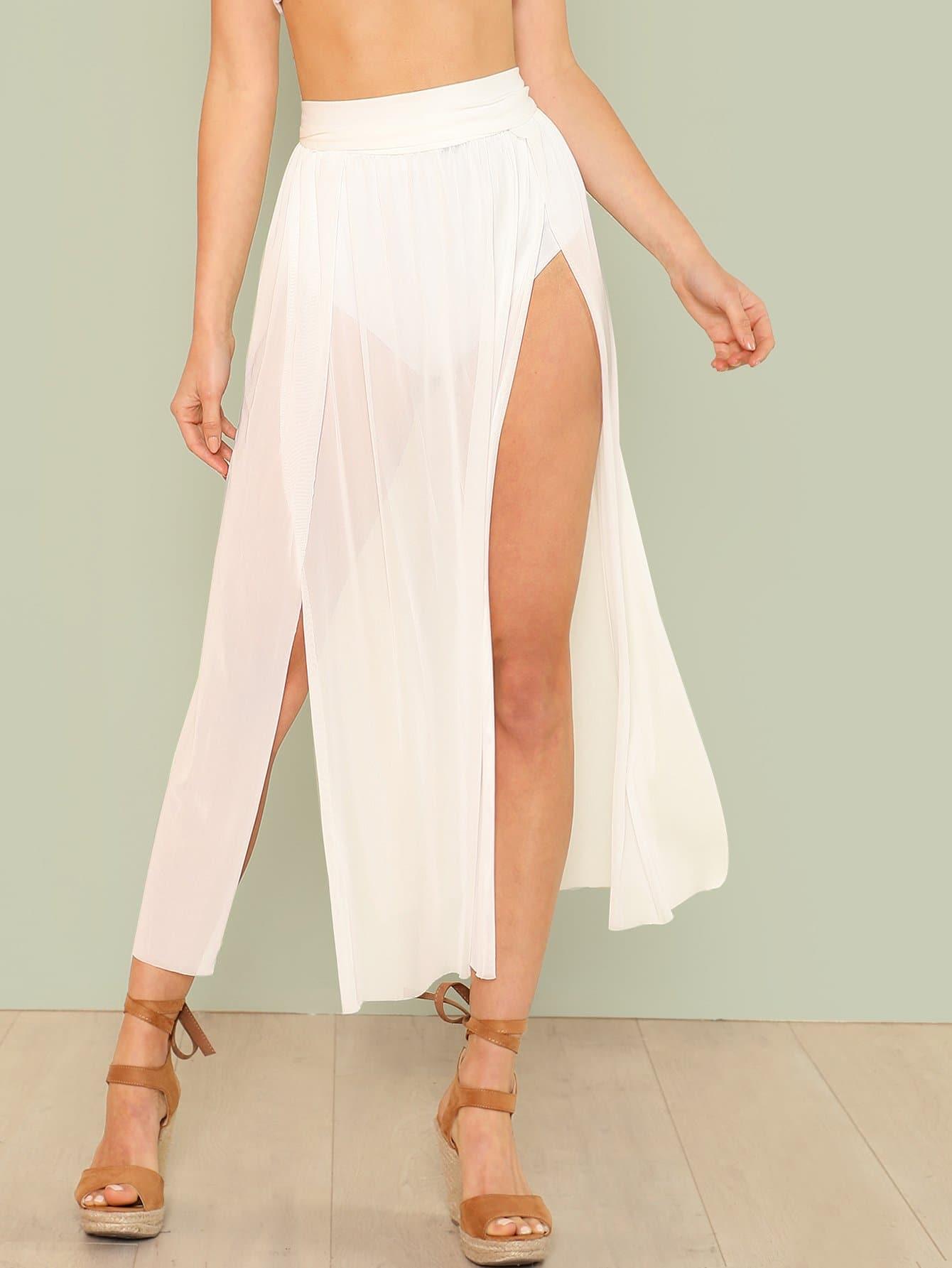 Split Mesh Skirt Cover Up split mesh skirt cover up