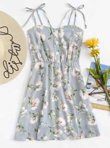 Floral Print Single Breasted Cami Dress