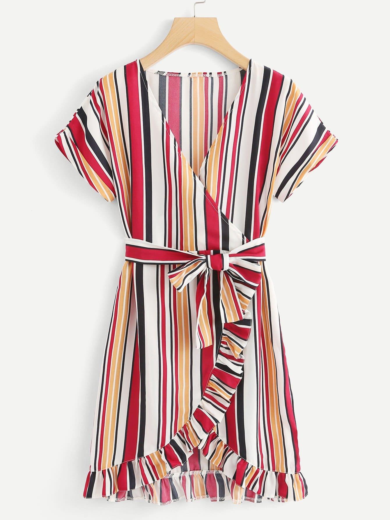 Ruffle Trim Striped Self Tie Waist Dress