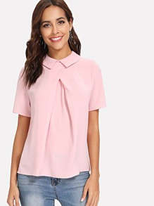 Fold Pleat Overlap Front Top SHEIN