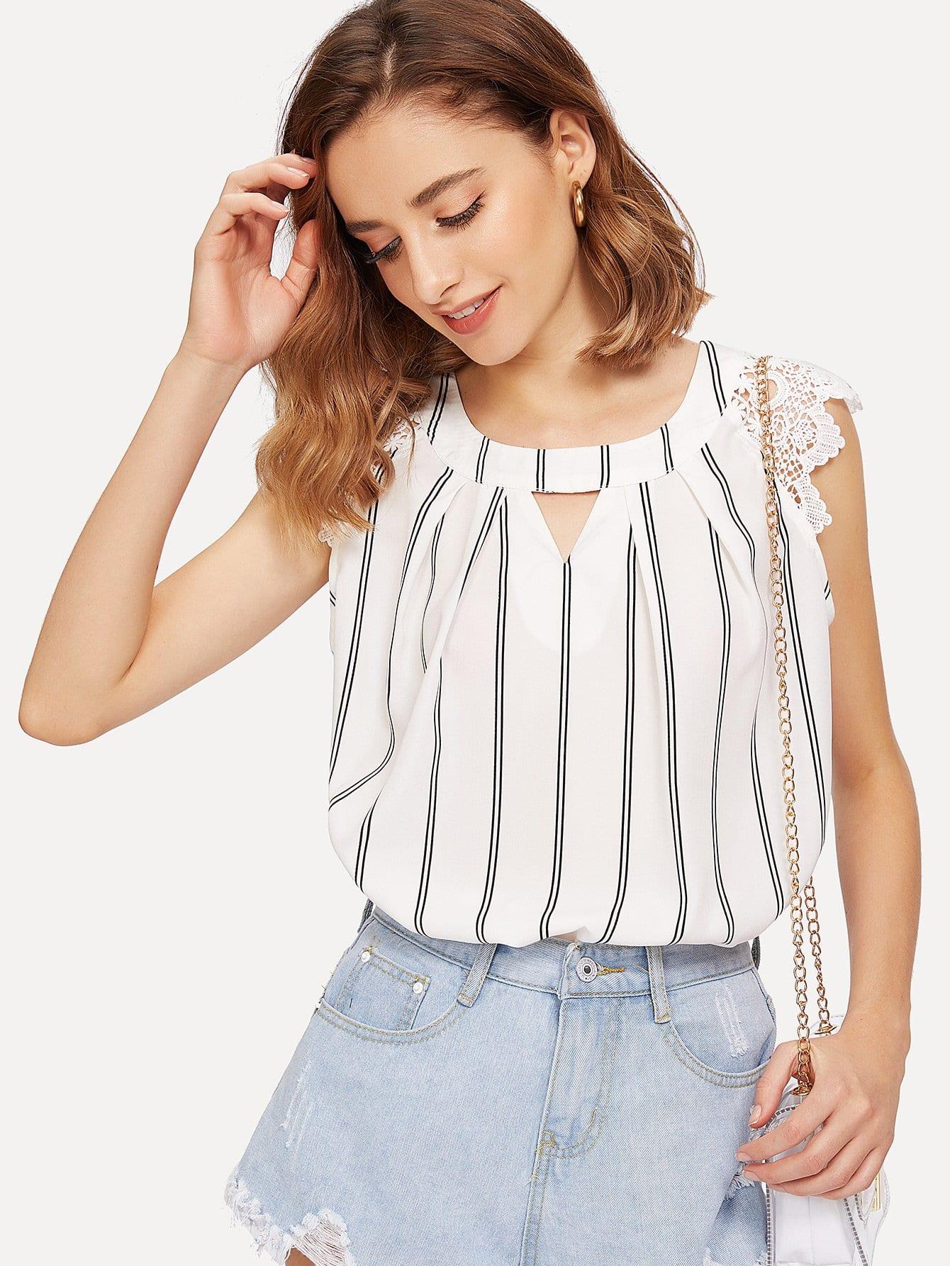 Lace Shoulder Cutout Pleated Neck Striped Top pink shoulder cutout