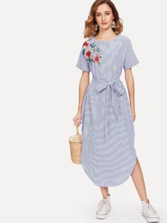 Flower Embroidered Belted Pinstripe Dress