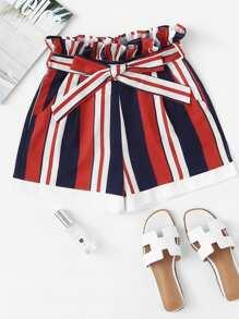 Frill Trim Self Tie Waist Striped Shorts