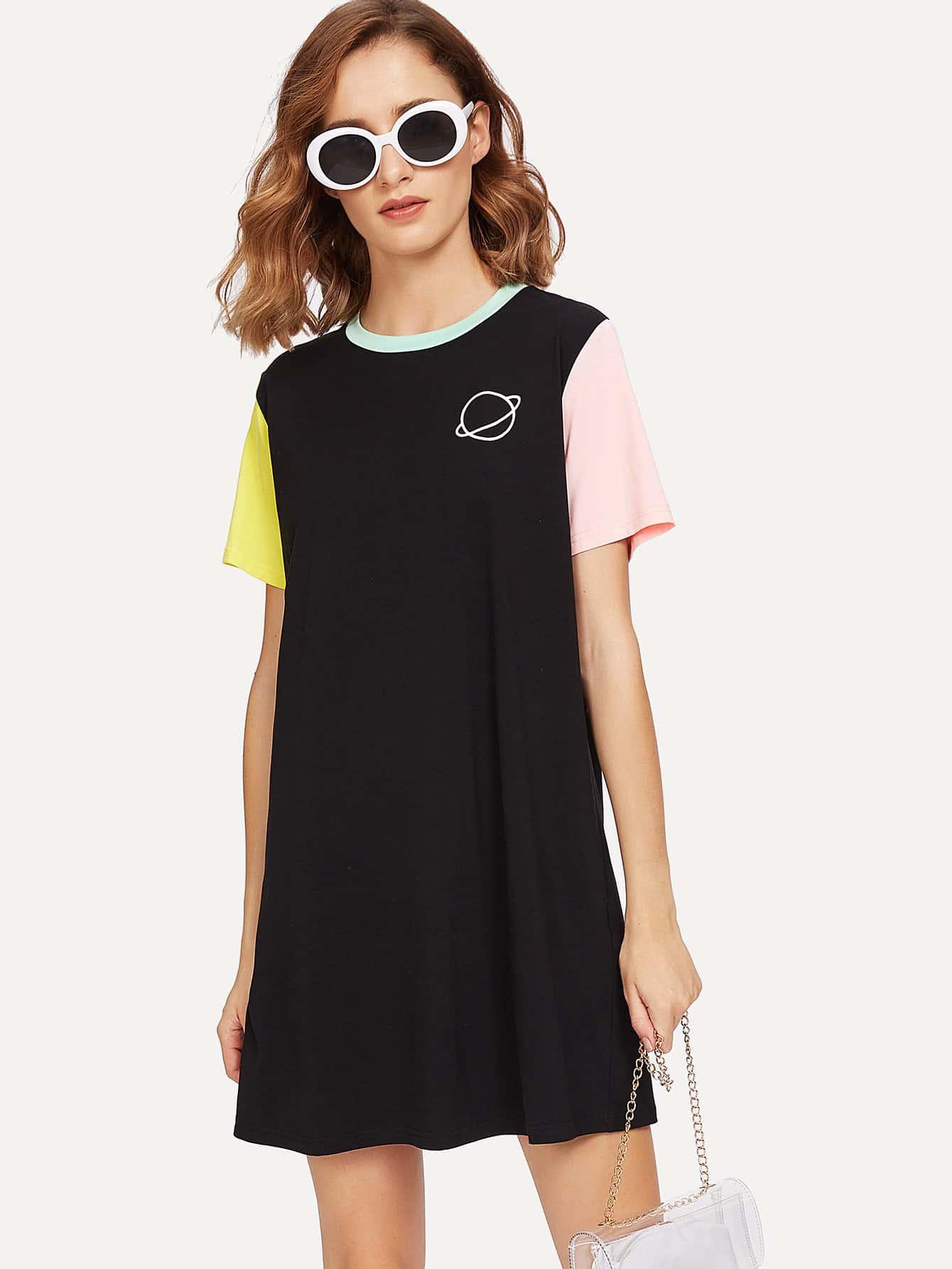 Color Block Tee Dress color block full length tee dress