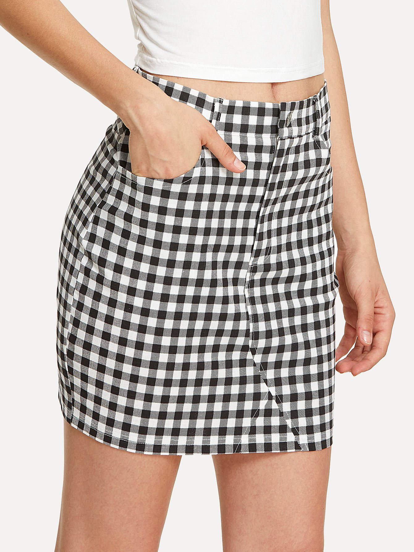 Pocket Front Fitted Plaid Skirt lace insert fitted faux leather skirt