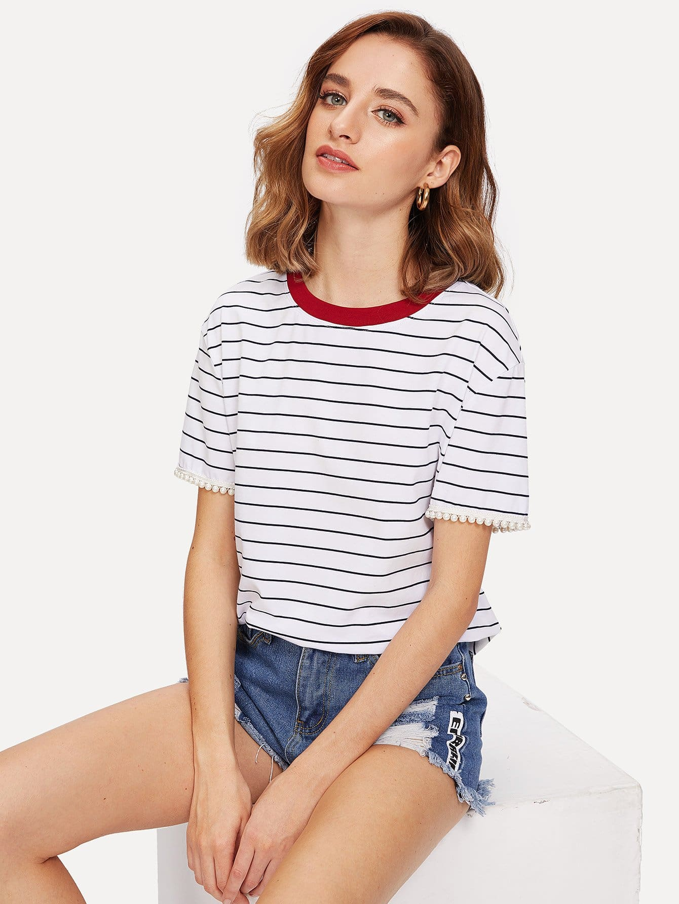Contrast Neck Pearl Cuff Striped Tee contrast striped trim camo print tee