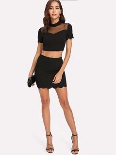 Scallop Trim Mesh Insert Crop Top & Skirt Co-Ord