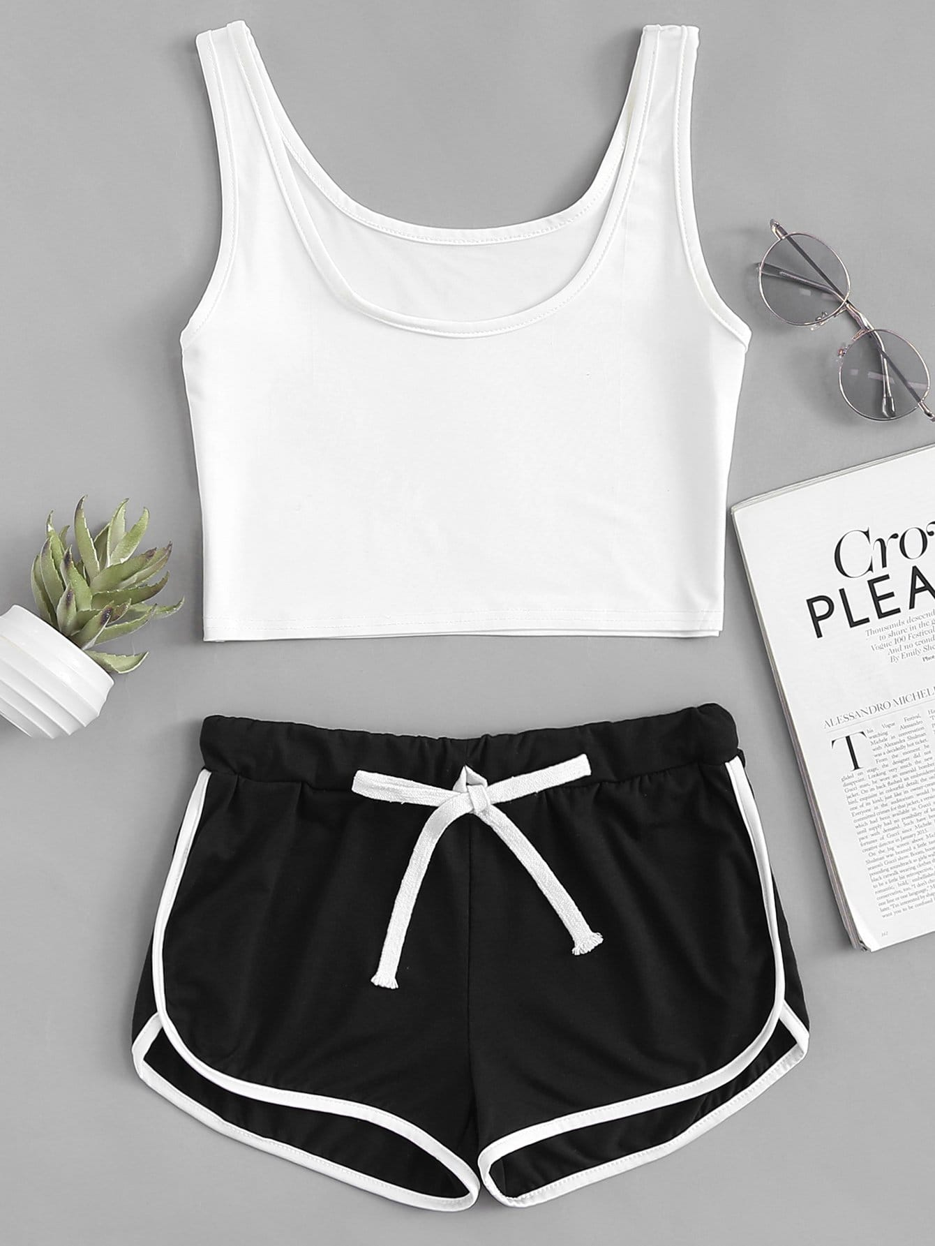 Scoop Neck Top With Drawstring Shorts sweatyrocks ringer crop cami top with drawstring shorts burgundy patchwork scoop neck sleeveless sexy women two pieces set
