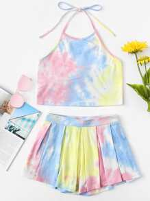 Water Color Halter Top With Shorts