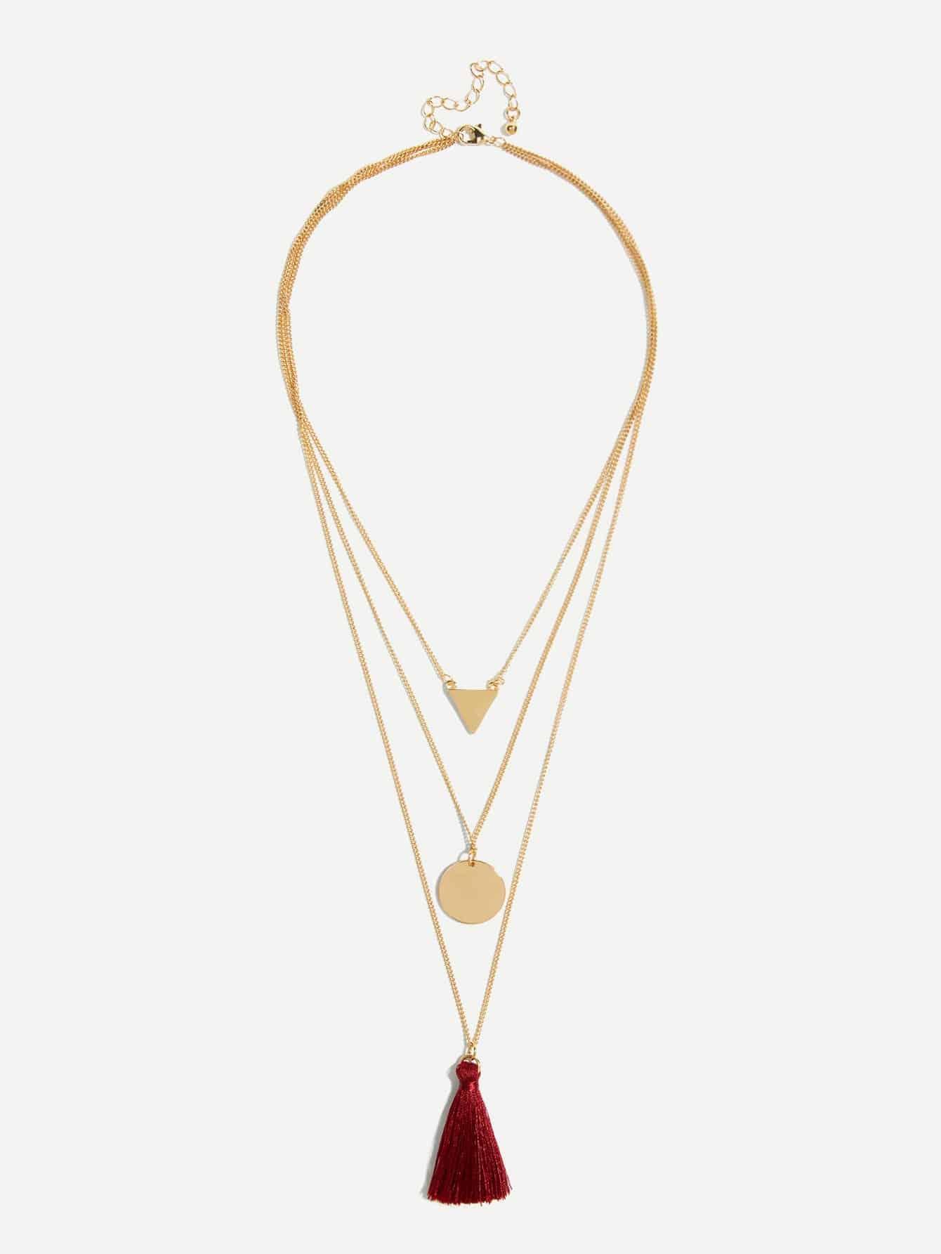 Красный геометрия Повседневные Ожерелья от SheIn
