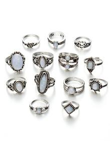 Gemstone Rings Set 13pcs