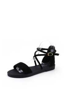 Criss Cross Strap Flat Sandals