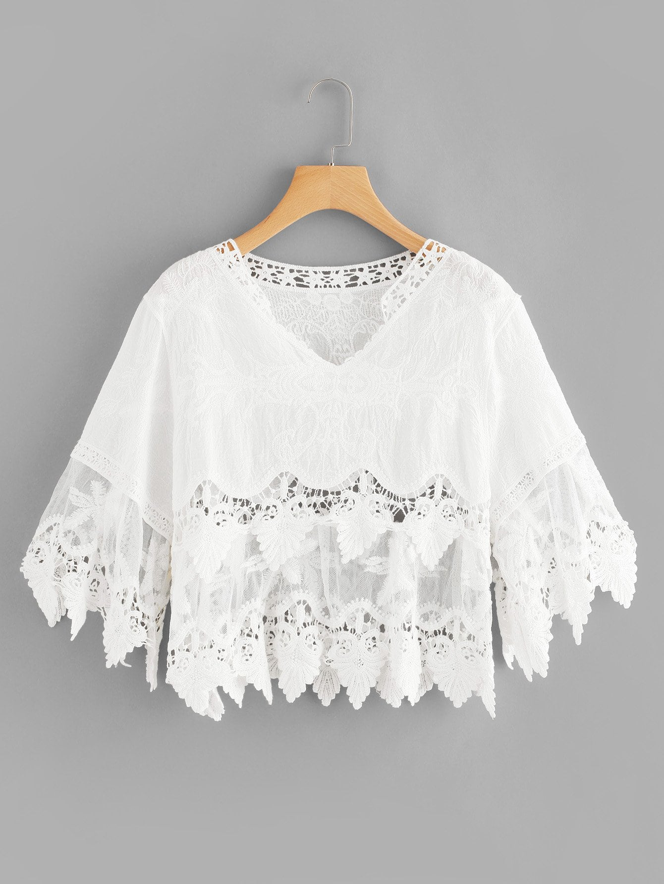 Mesh Panel Crochet Lace Top crochet lace panel top
