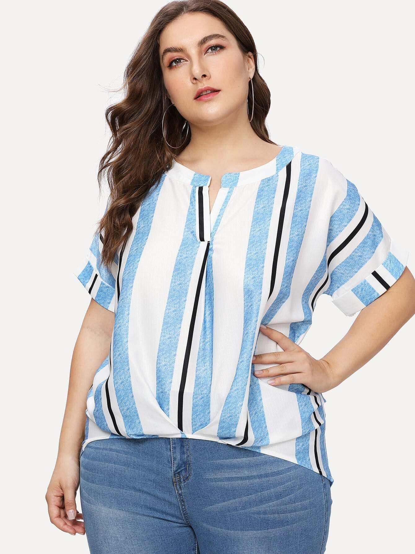 Dip Hem Striped Blouse all over cranes print dip hem striped blouse
