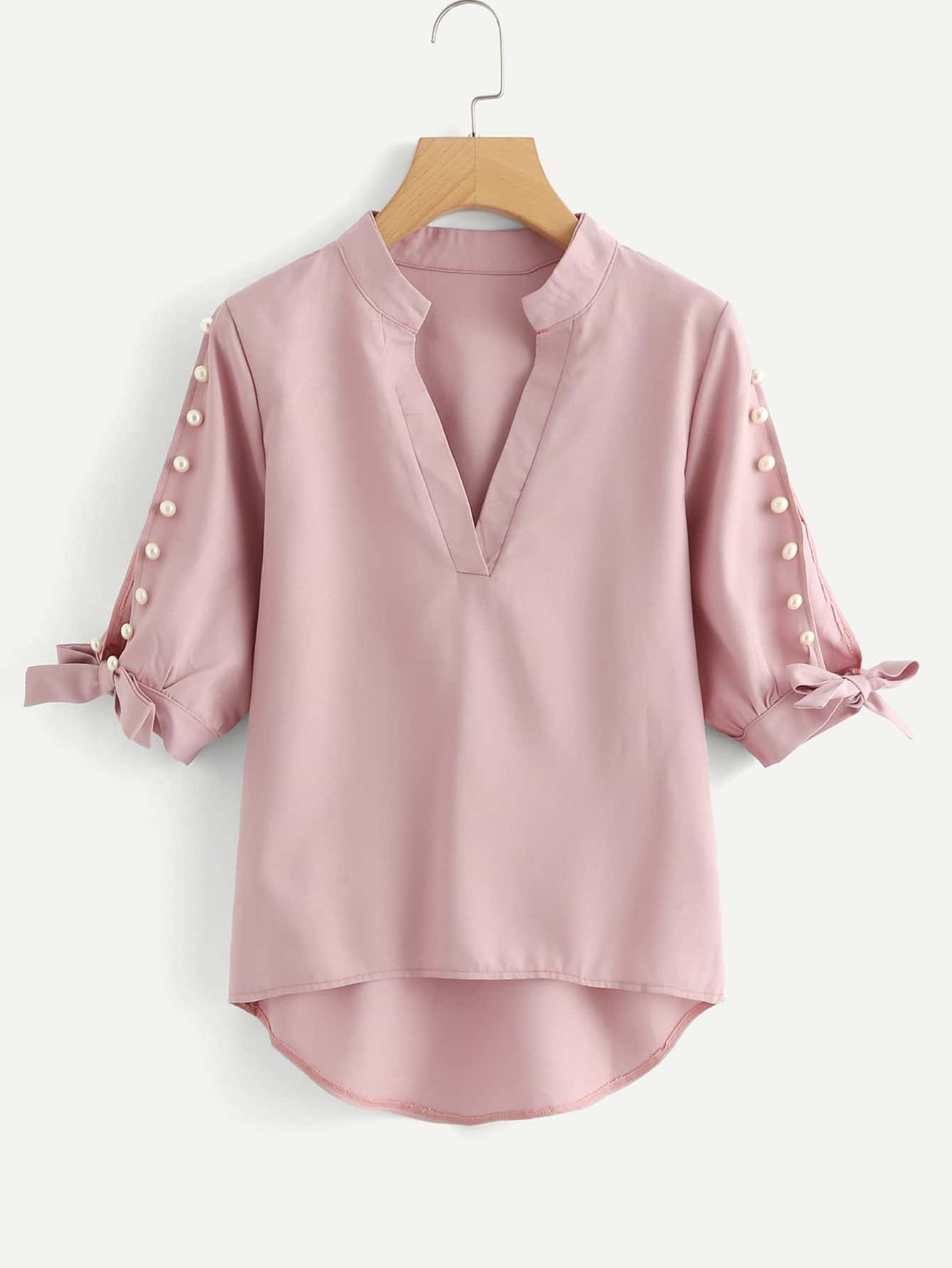 Pearl Beading Split Sleeve Knot Detail Blouse pearl beading frill detail sweatshirt