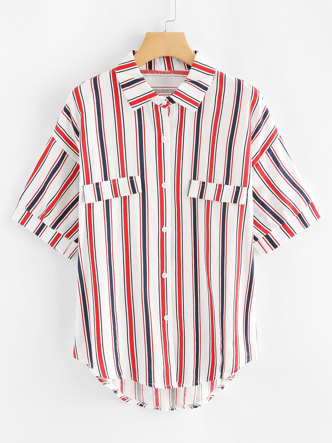 Dip Hem Striped Shirt all over florals dip hem shirt