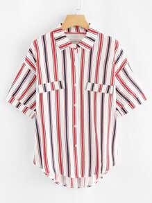 Dip Hem Striped Shirt