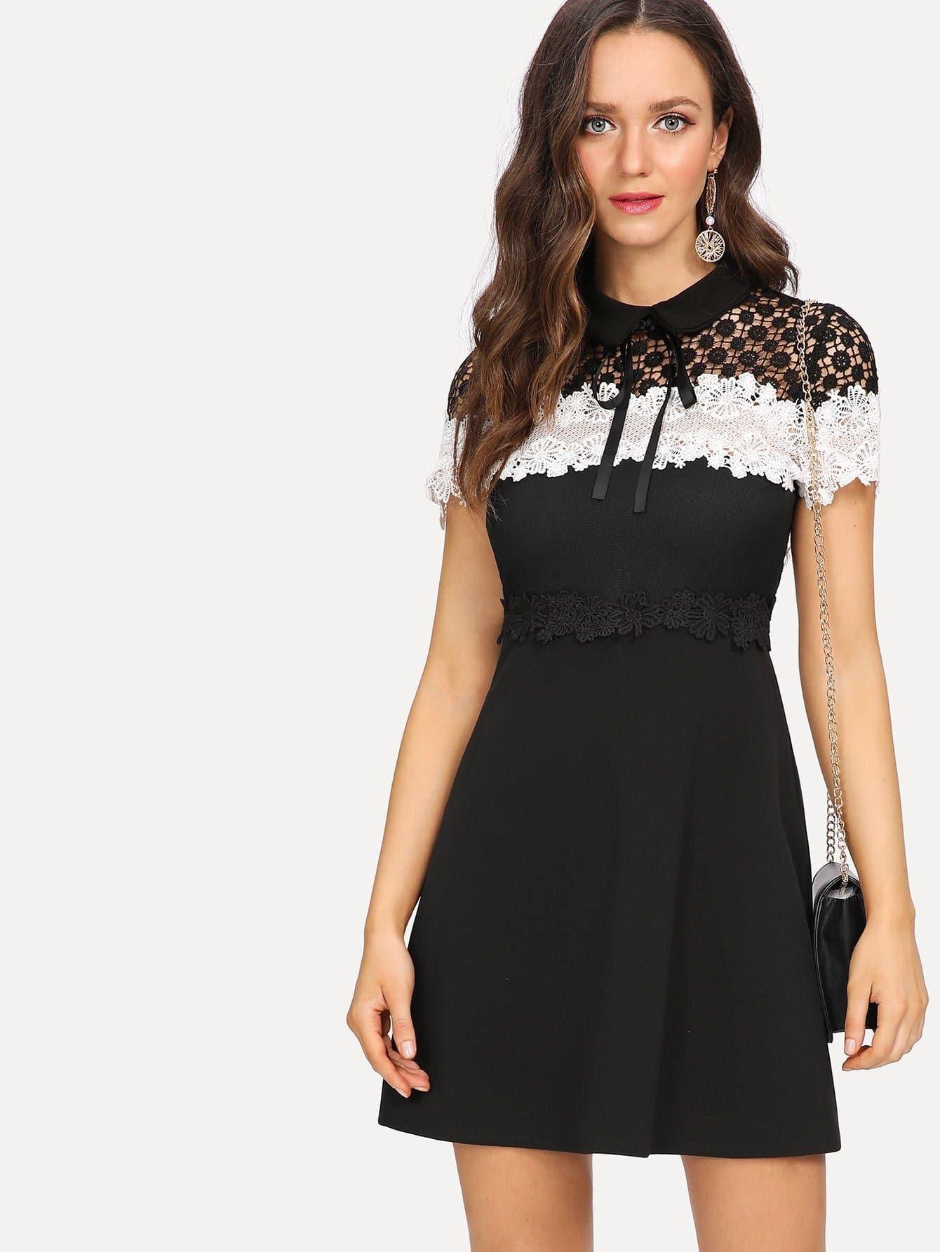 Tie Neck Hollow Crochet Lace Panel Dress crochet lace panel top