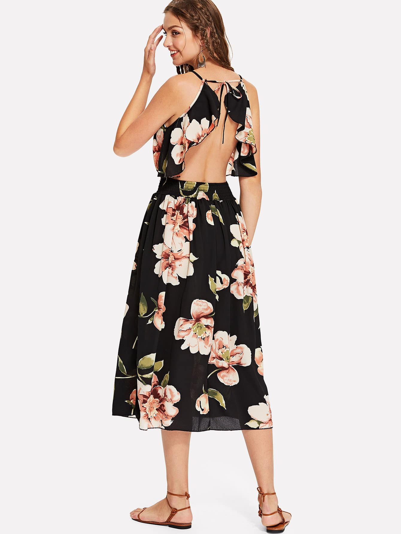 Floral Print Backless Cami Dress leaves print backless tiered layer cami dress