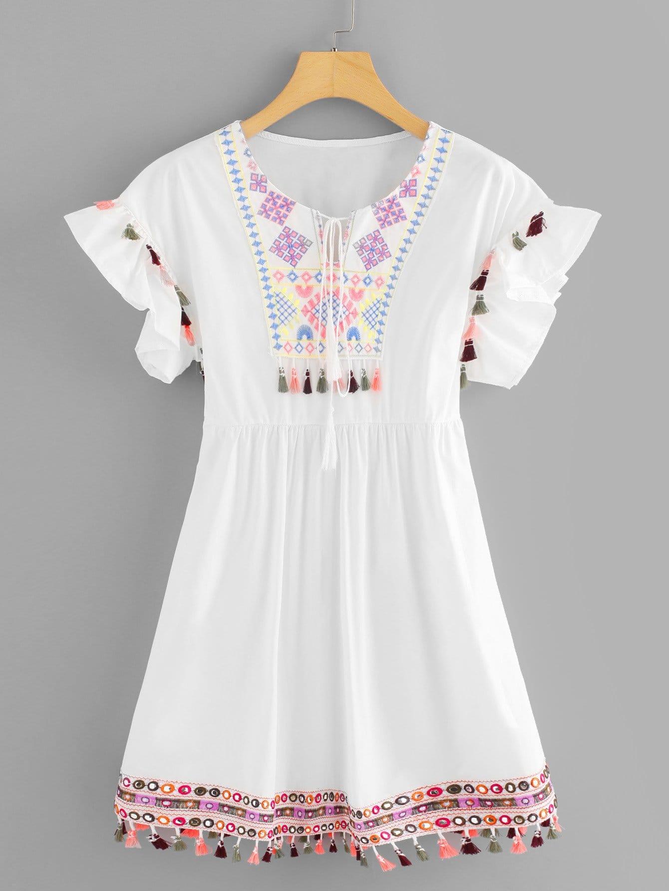 Tassel Trim Embroidered Dress рюкзак polar polar po001burvn29