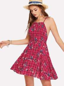 Cross Back Floral Print Grid Cami Dress