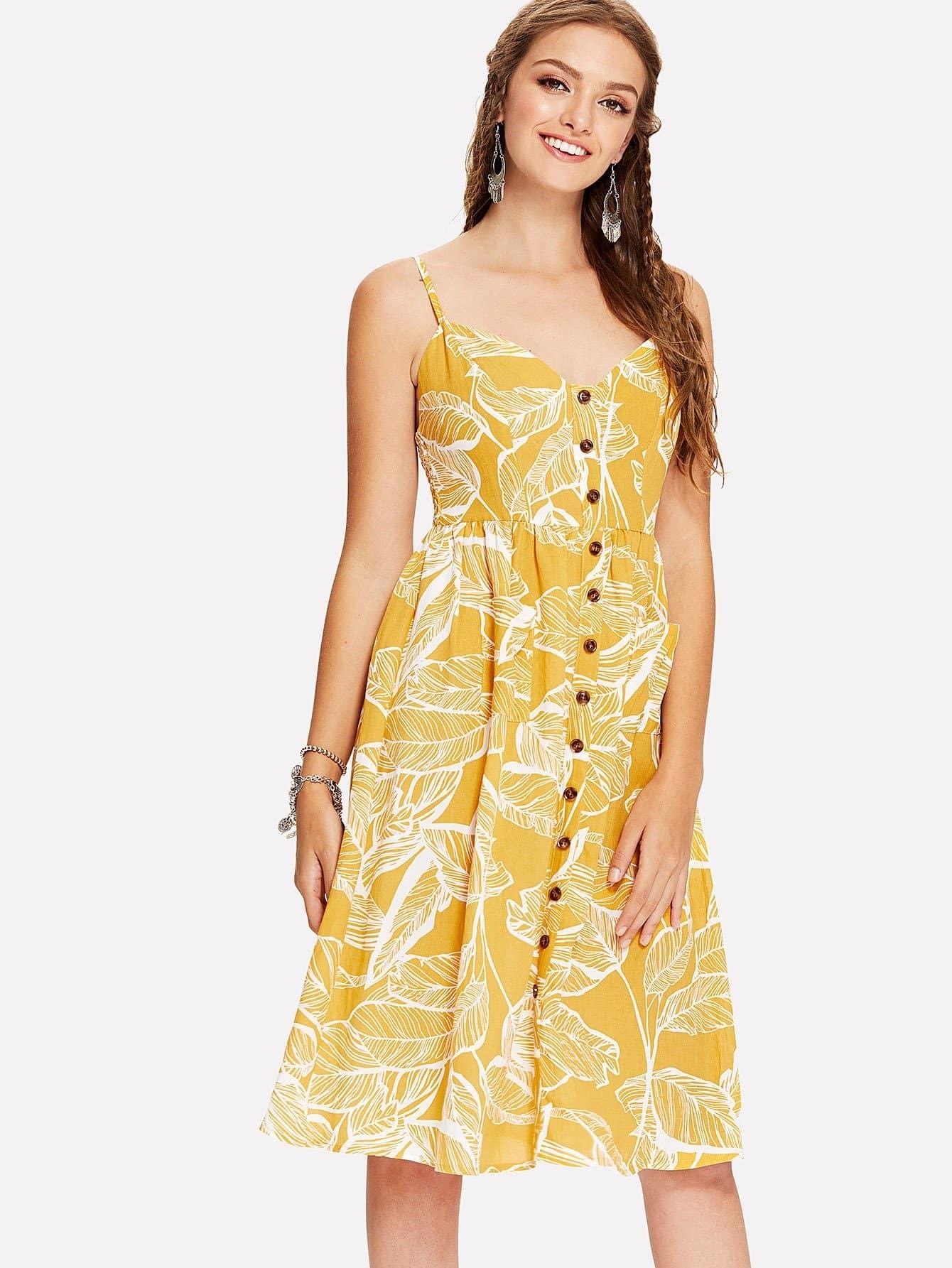 Купить Платье с принтом тропики и пуговицами, Luiza, SheIn