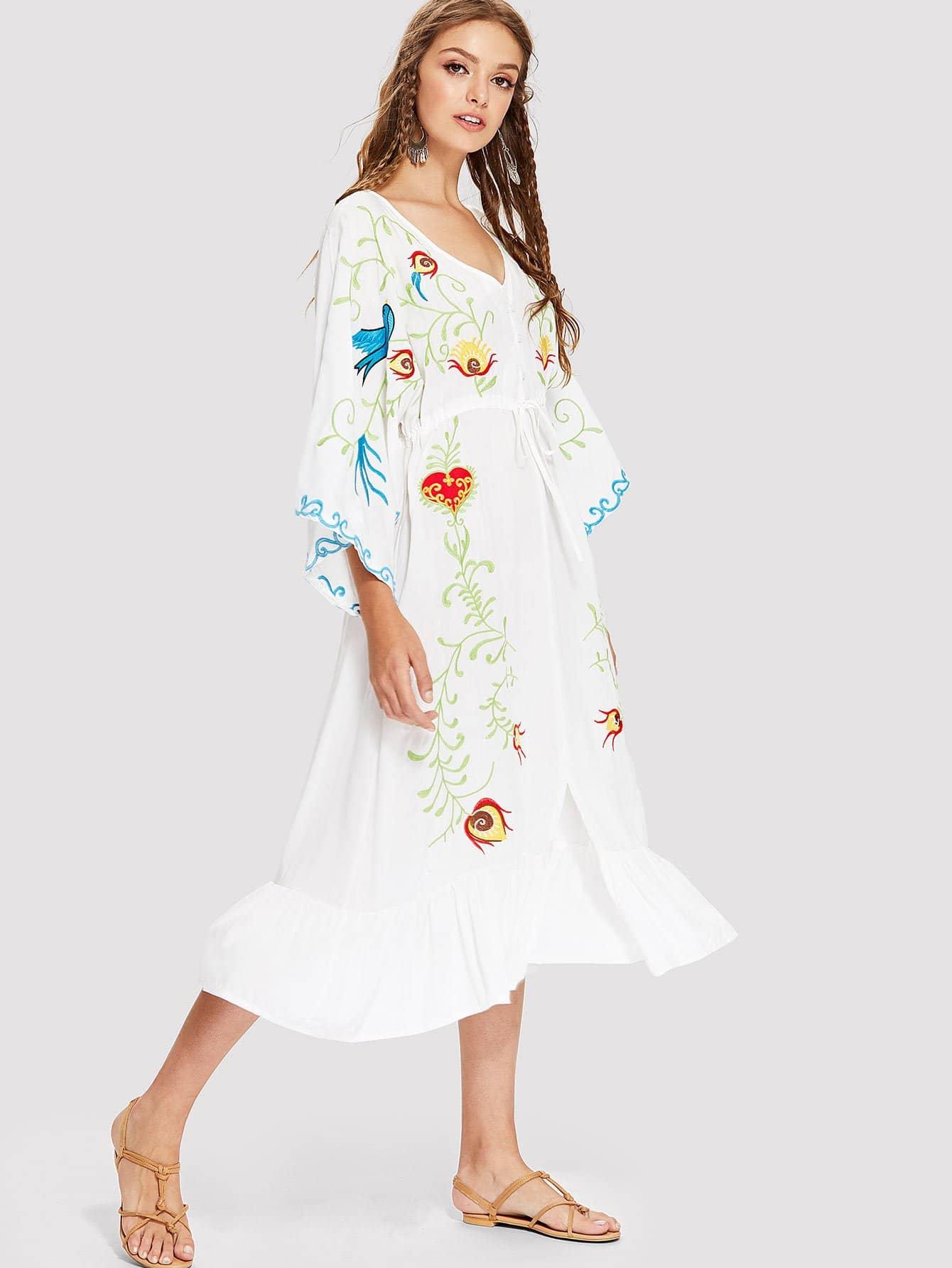 Drawstring Waist Ruffle Hem Embroidered Dress plus size ruffle drawstring waist gaucho pants