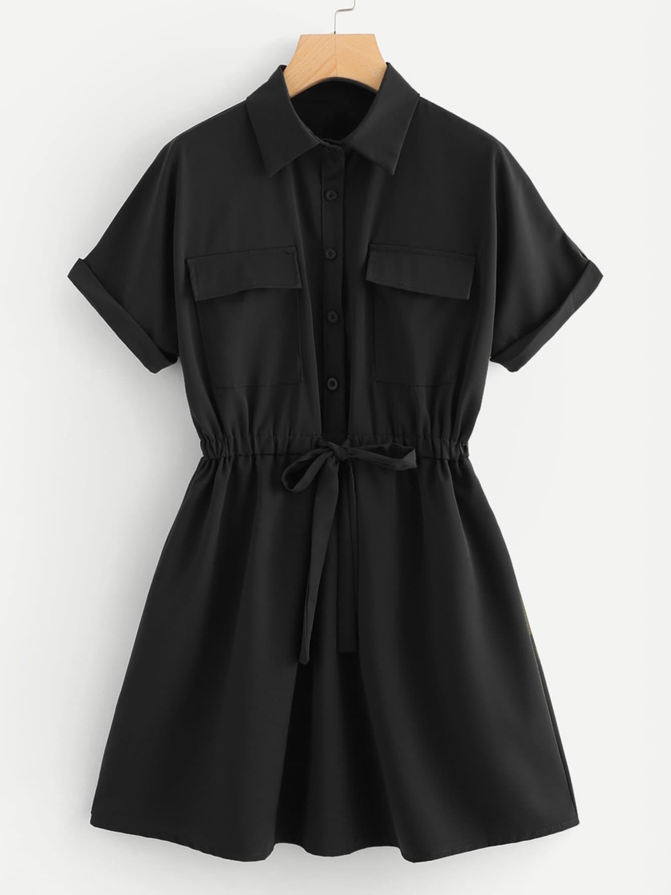Drawstring Waist Shirt Dress drawstring waist tank dress