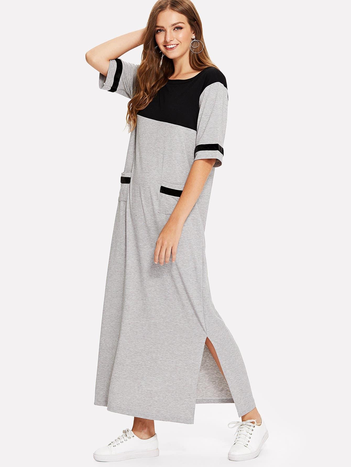 Dual Pocket Split Side Colorblock Dress kangaroo pocket split side dress