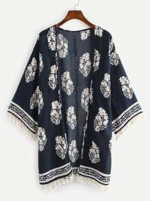 Tassel Trim Printed Kimono