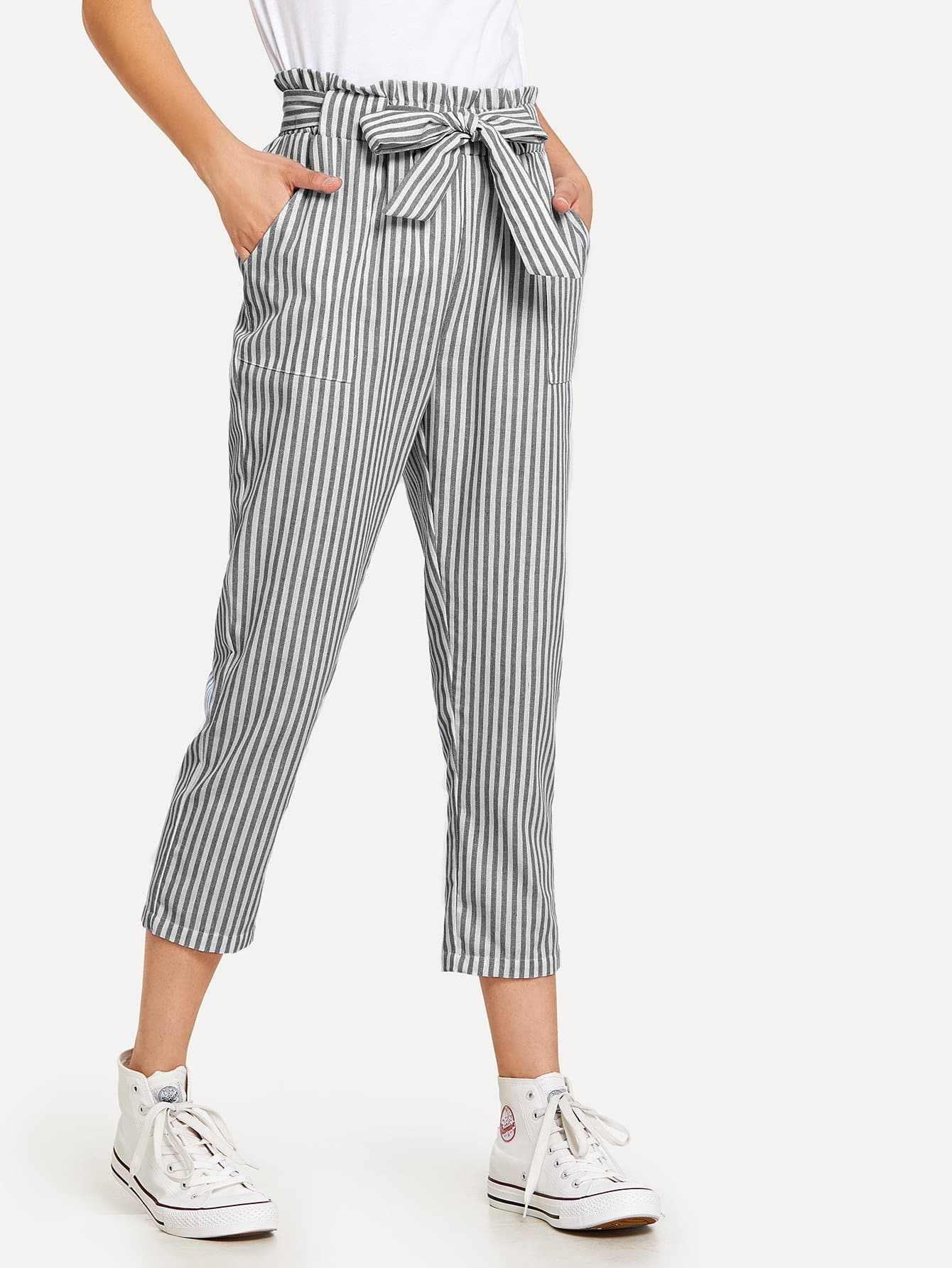 Striped Knot Front Pants knot front fit