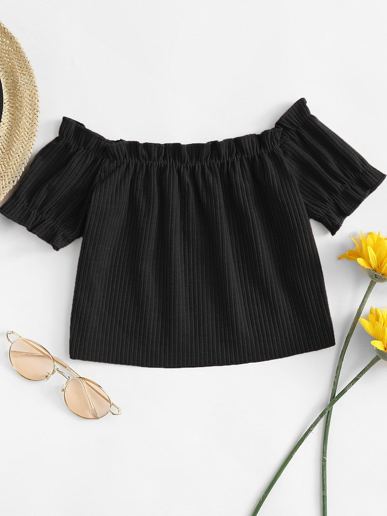 Off The Shoulder Frill Crop Tee frill trim tee