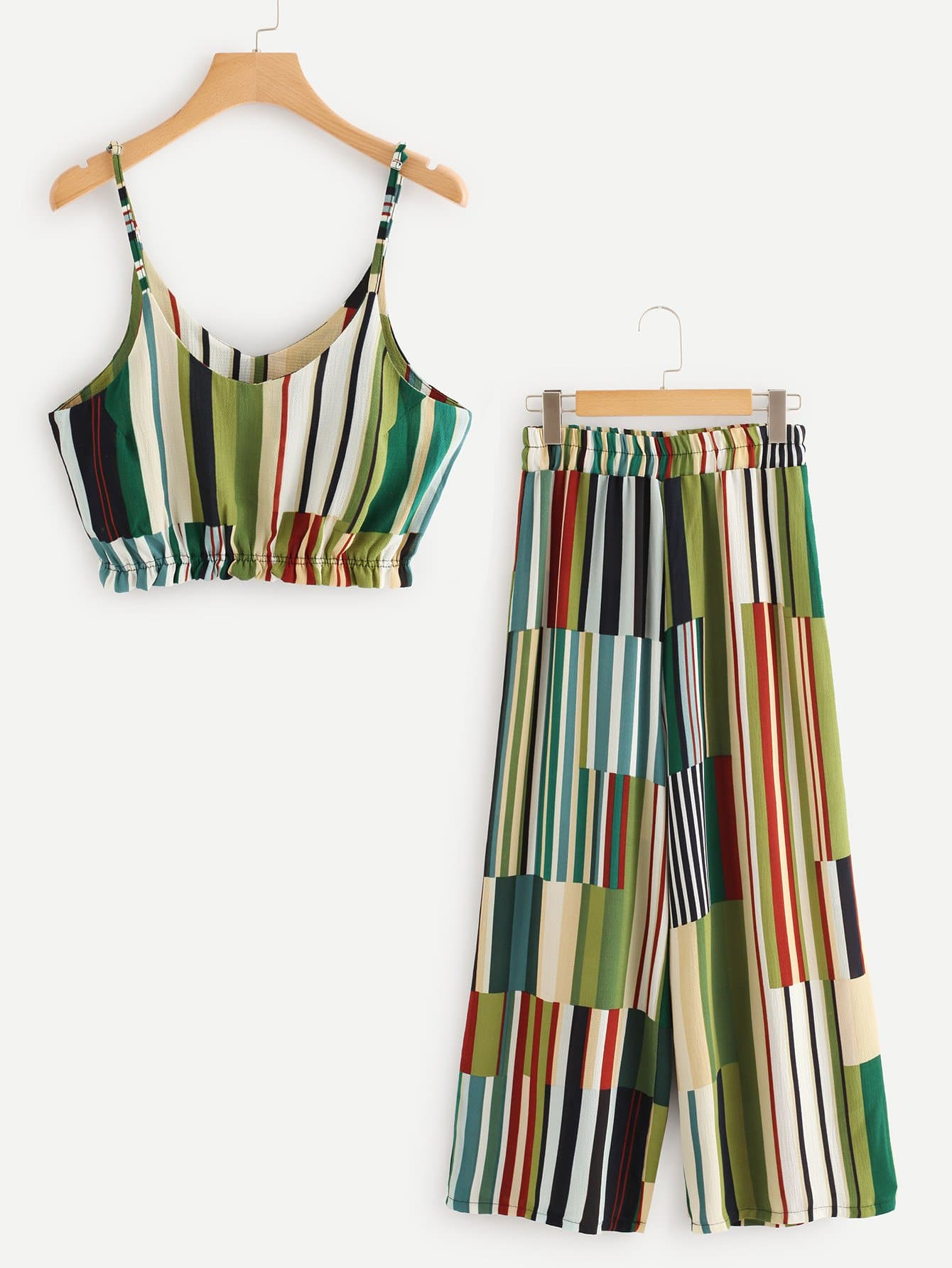 Multi Striped Crop Cami Top With Wide Leg Pants сеть световая 2х1 5 м richled rl n2 1 5 t m